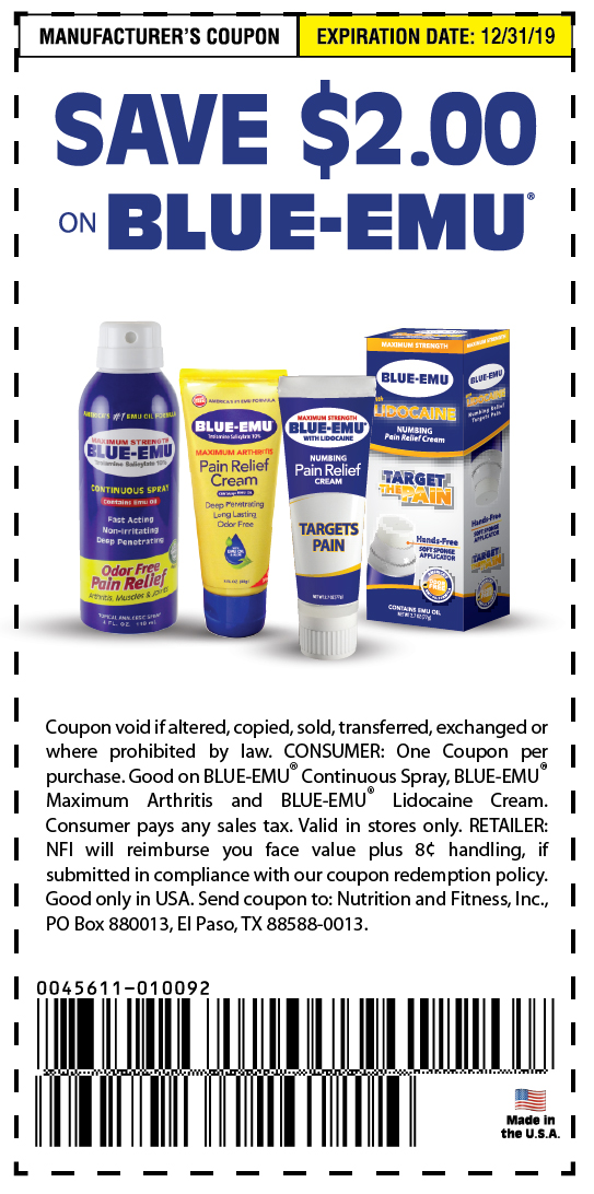 Blue Emu Coupon $2.00 off all major retailers