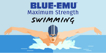 Image of a stylized swimmer swimming the breaststroke through water in a pool with the text Blue-Emu Maximum Strength Swimming