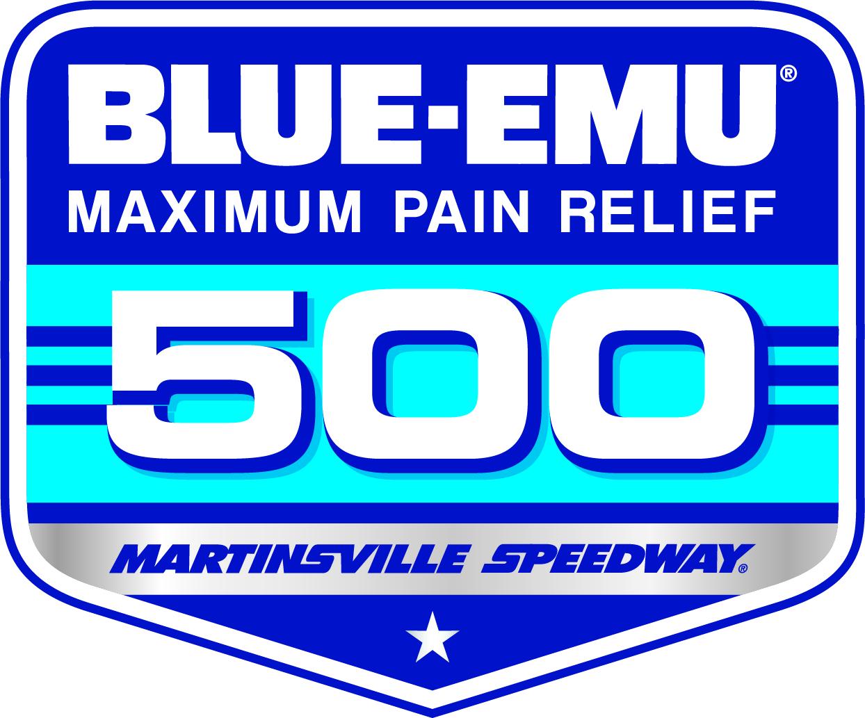 Image of the Blue-Emu 500 Race Logo at Martinsville Speedway on April 10 2021