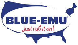 Image of Blue Emu Logo over Solid Blue Map of the US