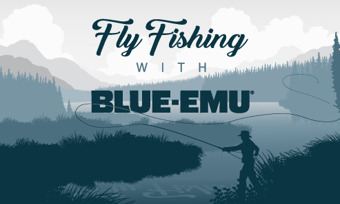 Image of a person fly fishing on a lake with the words Fly Fishing with Blue-Emu above them