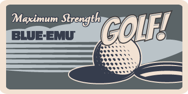 Image of a stylized golf ball sitting on the edge of a hole on a golf course with the text Maximum Strength Golf! Blue-Emu
