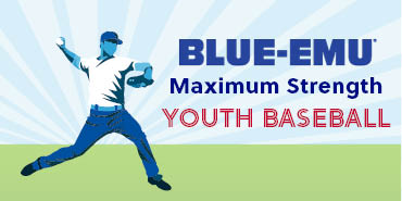 Image of a stylized baseball player throwing a baseball on grass with the text Blue-Emu Maximum Strength Youth Baseball