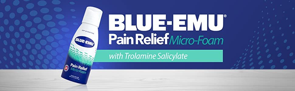 Banner image of BLUE-EMU Pain Relief Micro-Foam on a background of dark blue and grey with the text BLUE-EMU Pain Relief Micro-Foam with Trolamine Salicylate