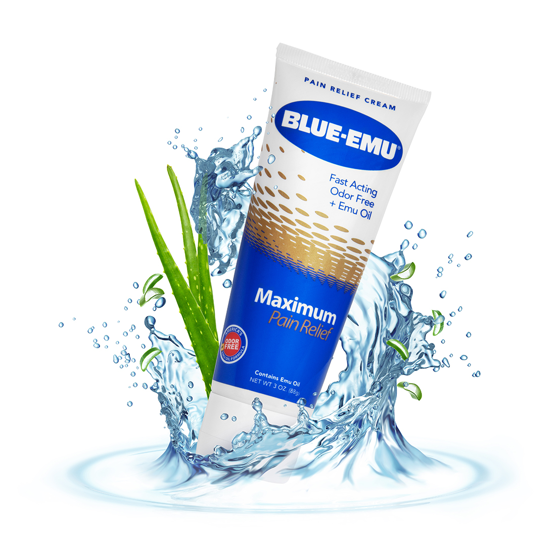 Image of Blue-Emu Maximum Pain Relief Cream tube in a splash of water with two long, green leaves