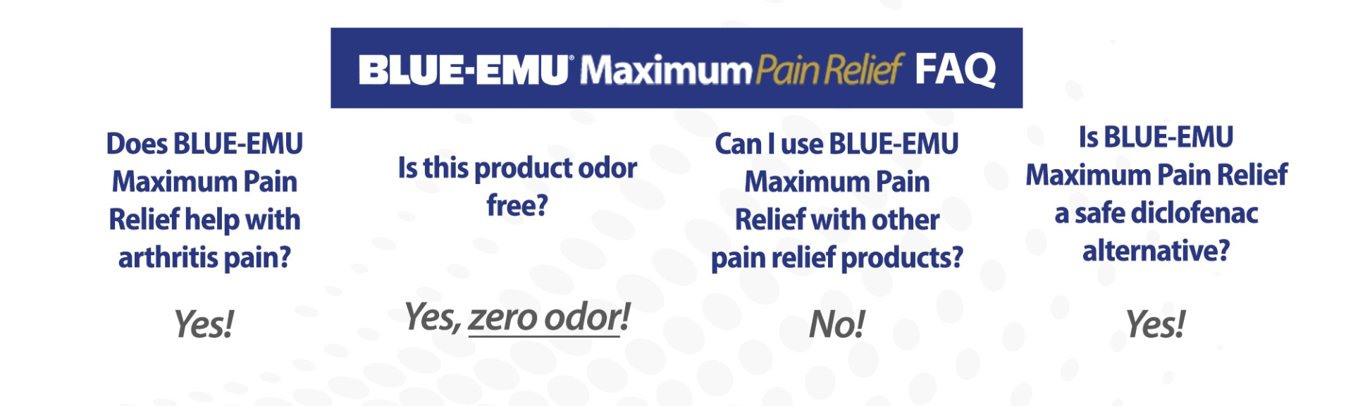 Image showing frequently asked questions for Blue-Emu Maximum Pain Relief Cream - Does it treat arthritis? Yes. Is it odor free? Yes, zero odor! Can I use Blue-Emu Maximum Pain Relief with other pain relief products? No. Is Blue-Emu Maximum Pain Relief a safe diclofenac alternative? Yes