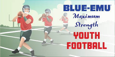 Image of stylized youth football players practicing on a football field with a goal post in the background and with the text Blue-Emu Maximum Strength Youth Football