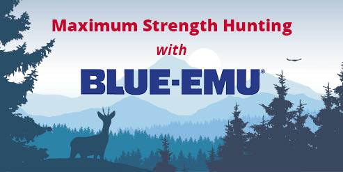 Image of mountains and trees with a buck deer in silhouette with the words Maximum Strength Hunting with Blue-Emu